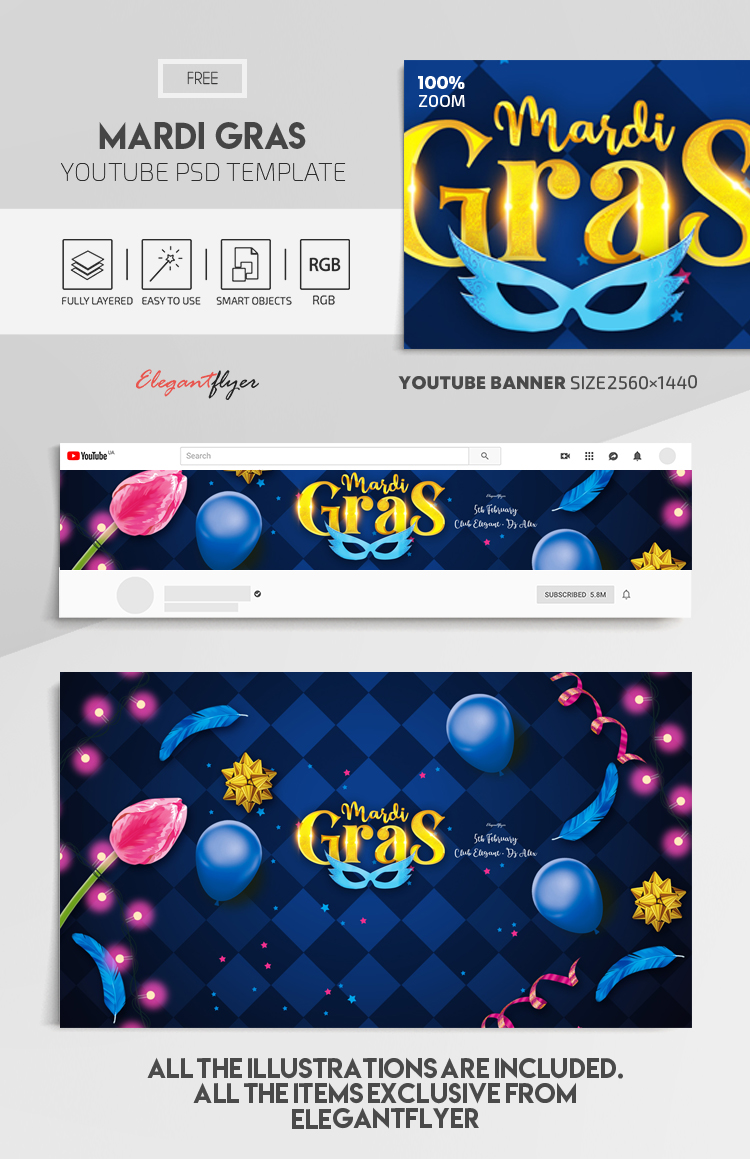 Mardi Gras – Free Youtube Channel banner PSD Template