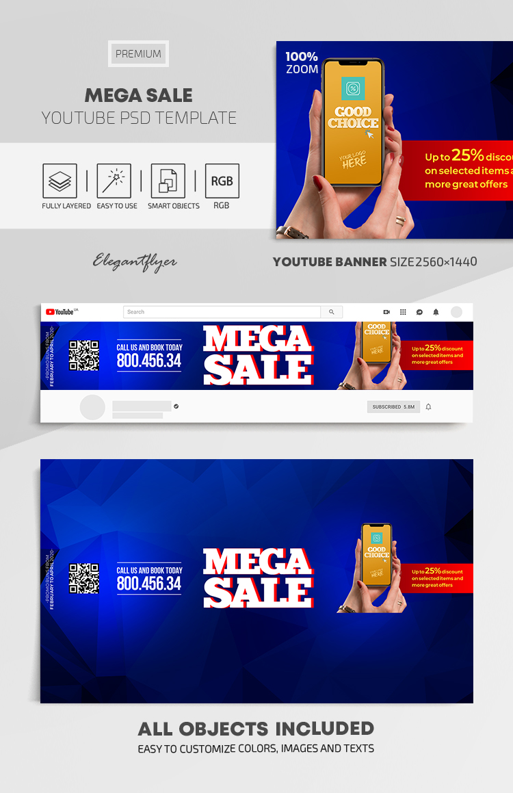 Mega Sale – Youtube Channel banner PSD Template