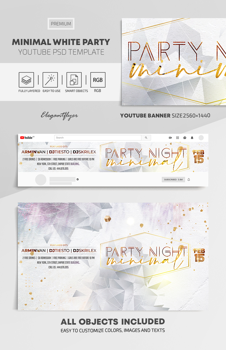 Minimal White Party – Youtube Channel banner PSD Template