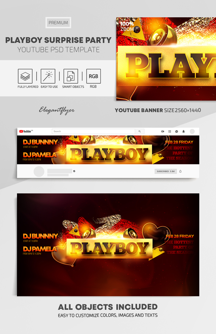 Playboy Surprise Party – Youtube Channel banner PSD Template
