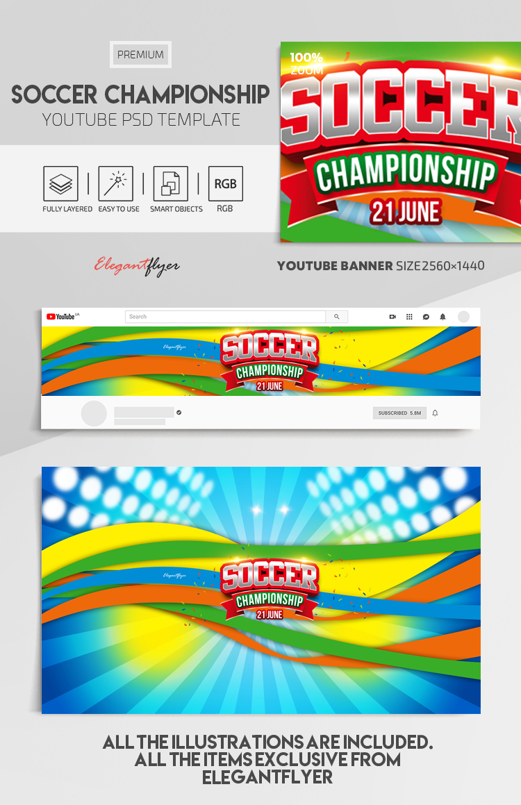Soccer Championship – Youtube Channel banner PSD Template