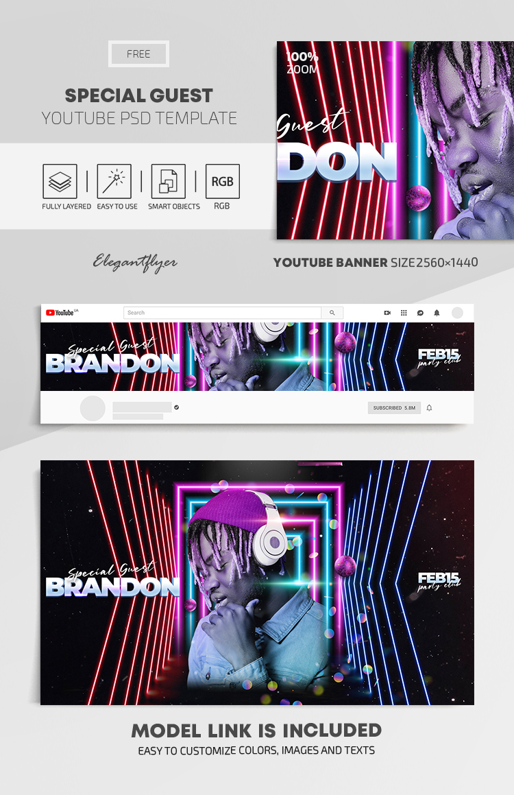 Special Guest DJ – Free Youtube Channel banner PSD Template