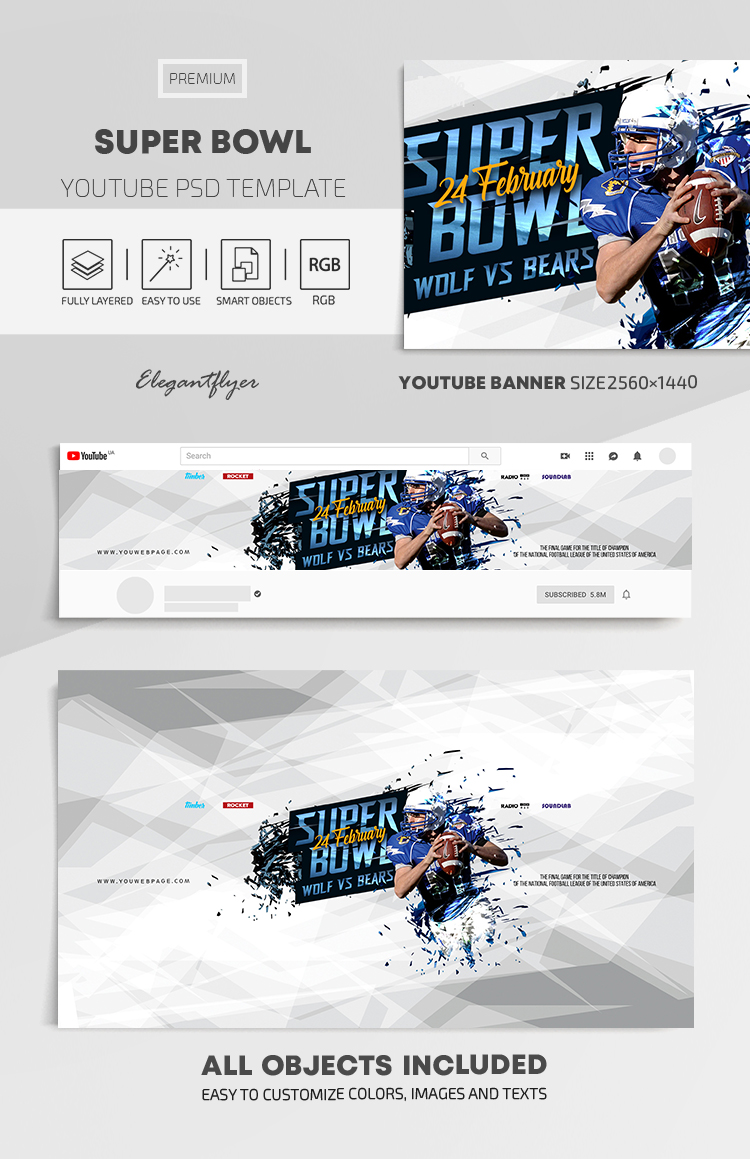 Super Bowl – Youtube Channel banner PSD Template