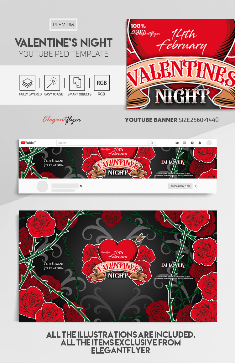 Valentine's Night – Youtube Channel banner PSD Template