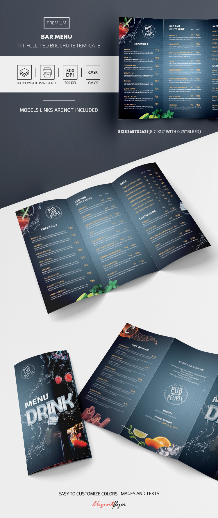 Bar Menu – Premium Tri-Fold PSD Template