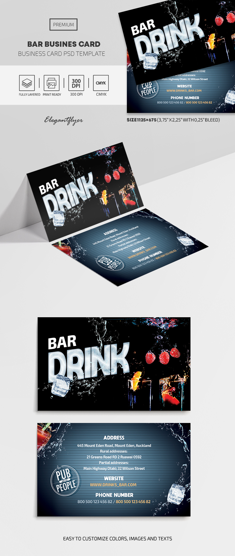 Bar – PSD Business Card Template