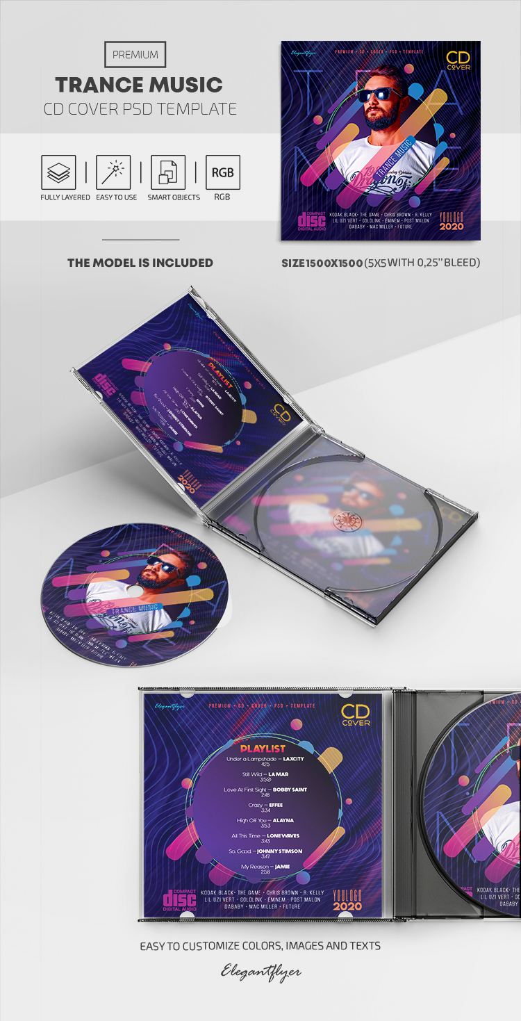 Trance Music – Premium CD Cover PSD Template
