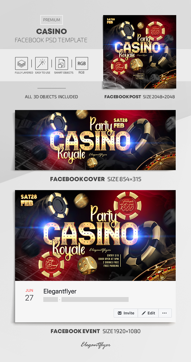 Casino – Facebook Cover Template in PSD + Post + Event cover