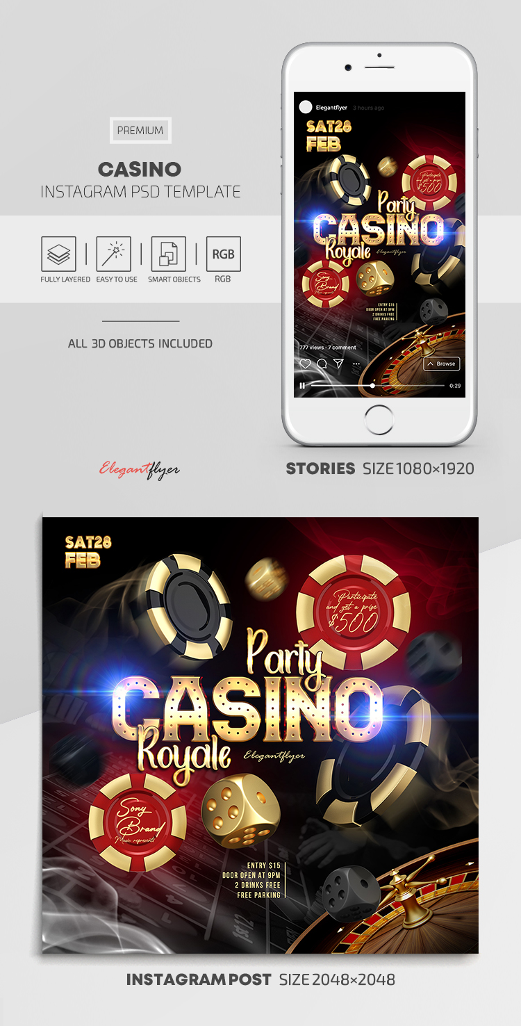 Casino – Instagram Stories Template in PSD + Post Templates