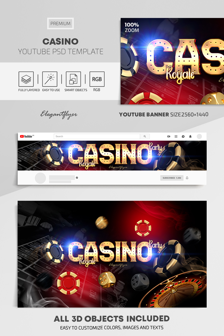 Casino – Youtube Channel banner PSD Template