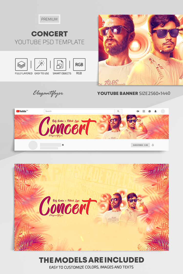 Concert – Youtube Channel banner PSD Template