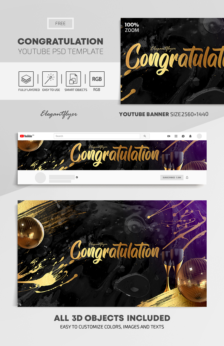 Congratulation – Free Youtube Channel banner PSD Template