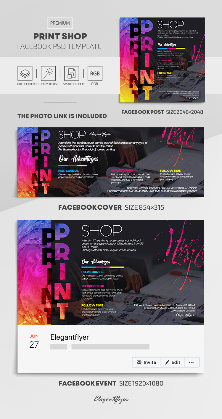 Print Shop – Facebook Cover Template in PSD + Post + Event cover