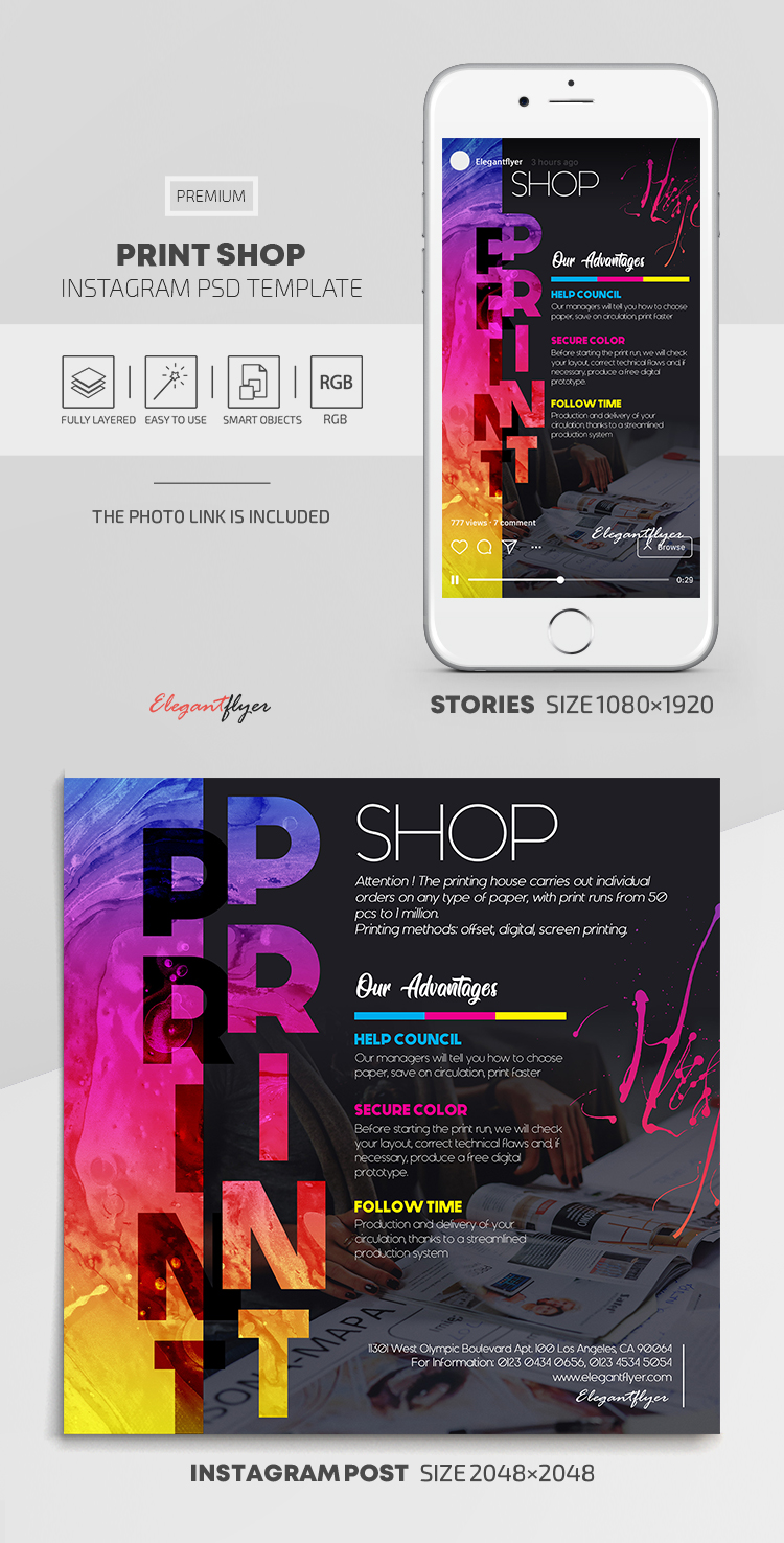 Print Shop – Instagram Stories Template in PSD + Post Templates