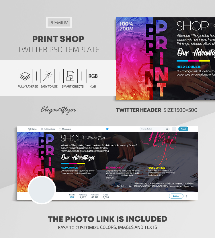 Print Shop – Twitter Header PSD Template