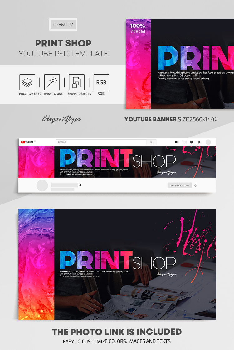Print Shop – Youtube Channel banner PSD Template