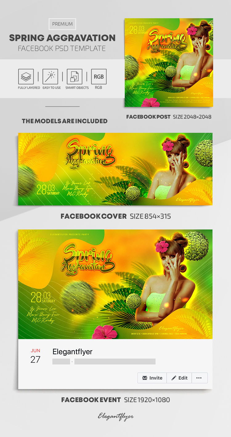 Spring Aggravation – Facebook Cover Template in PSD + Post + Event cover