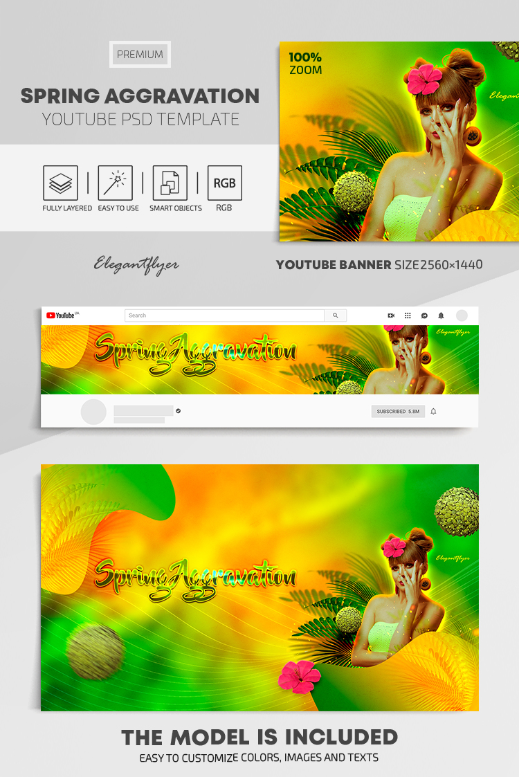 Spring Aggravation – Youtube Channel banner PSD Template