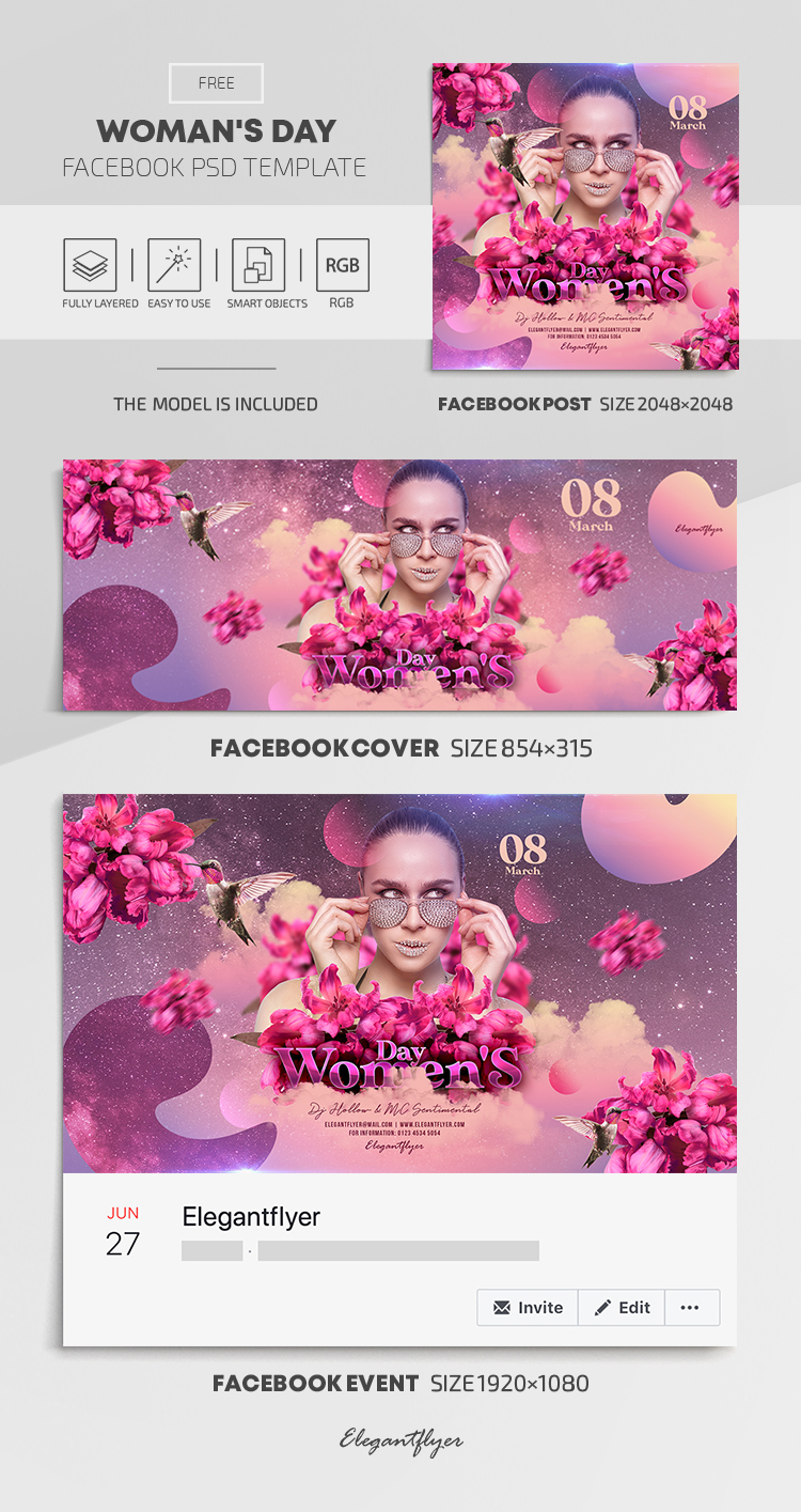 Woman's Day – Free Facebook Cover Template in PSD + Post + Event cover