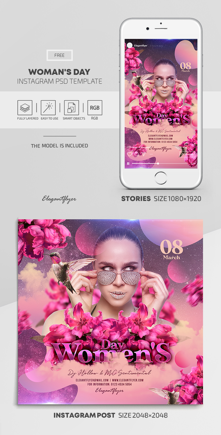 Woman's Day – Free Instagram Stories Template in PSD + Post Templates