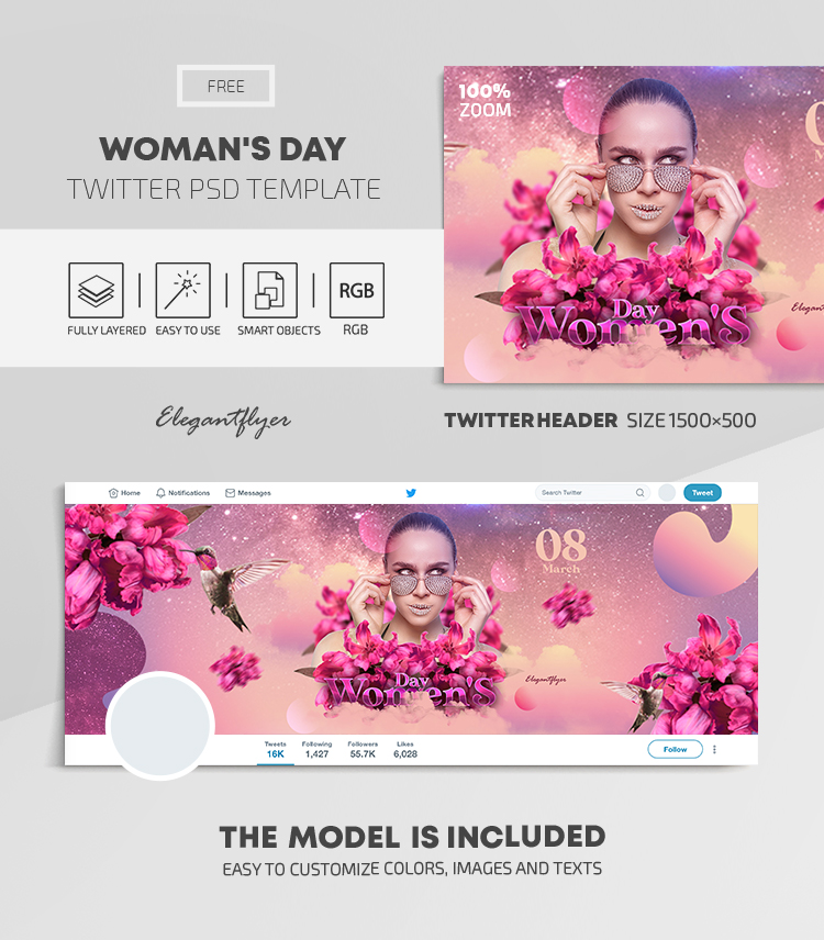Woman's Day – Free Twitter Header PSD Template