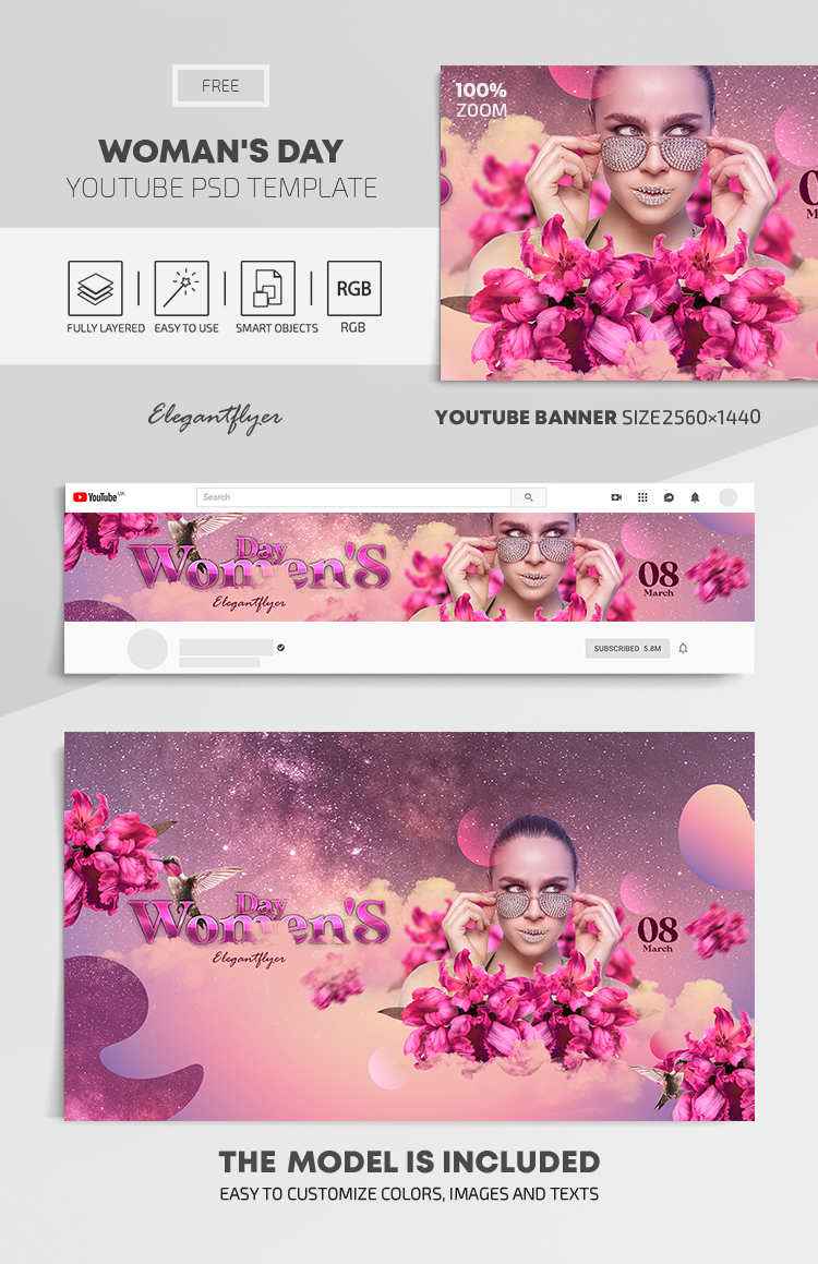 Woman's Day – Free Youtube Channel banner PSD Template
