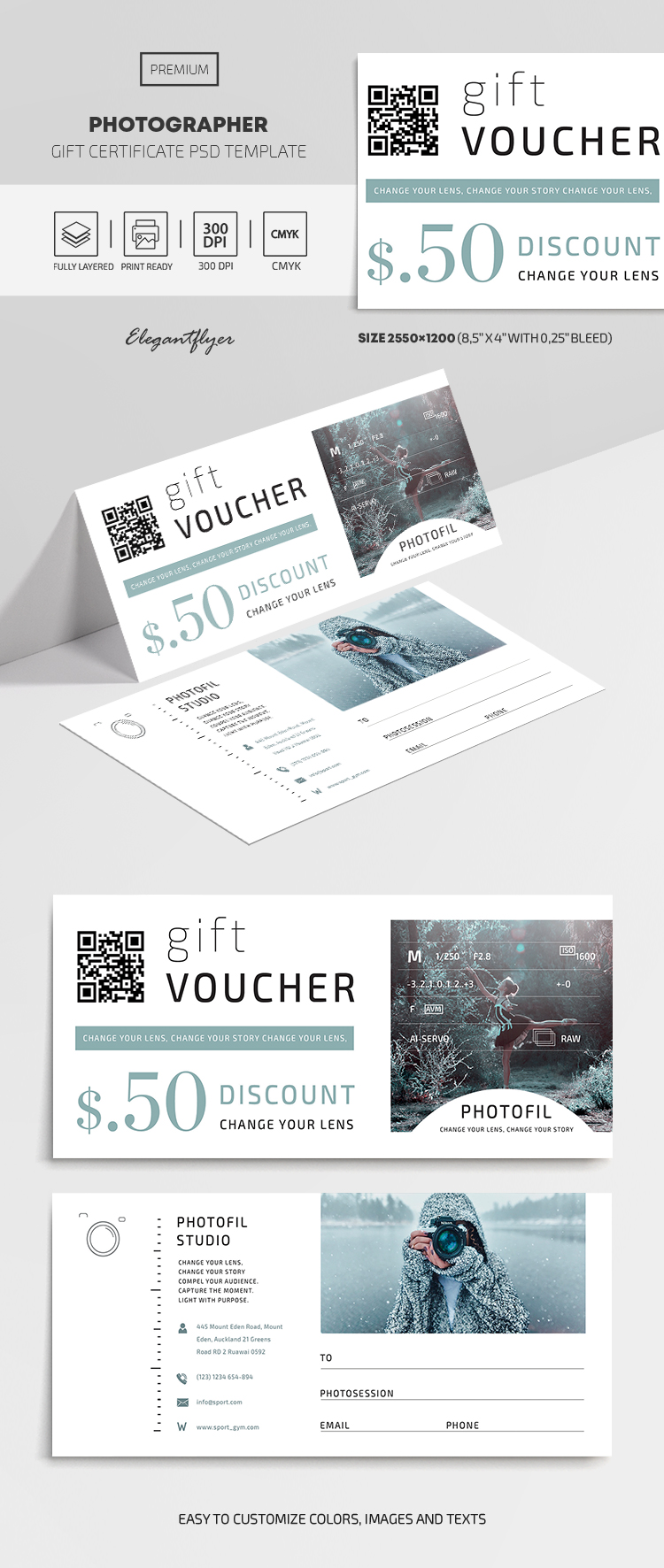 Photographer Premium Gift Certificate Template in PSD