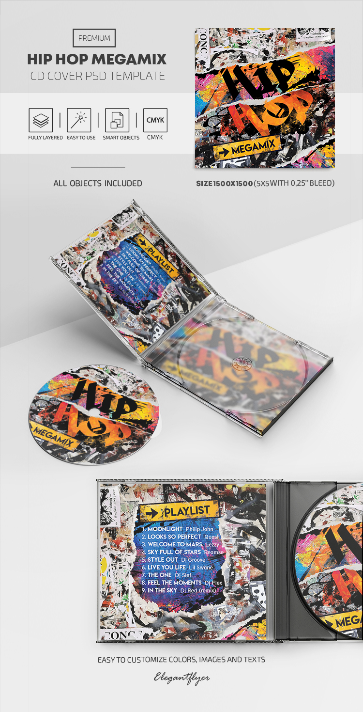 Hip Hop Megamix – Premium CD Cover PSD Template