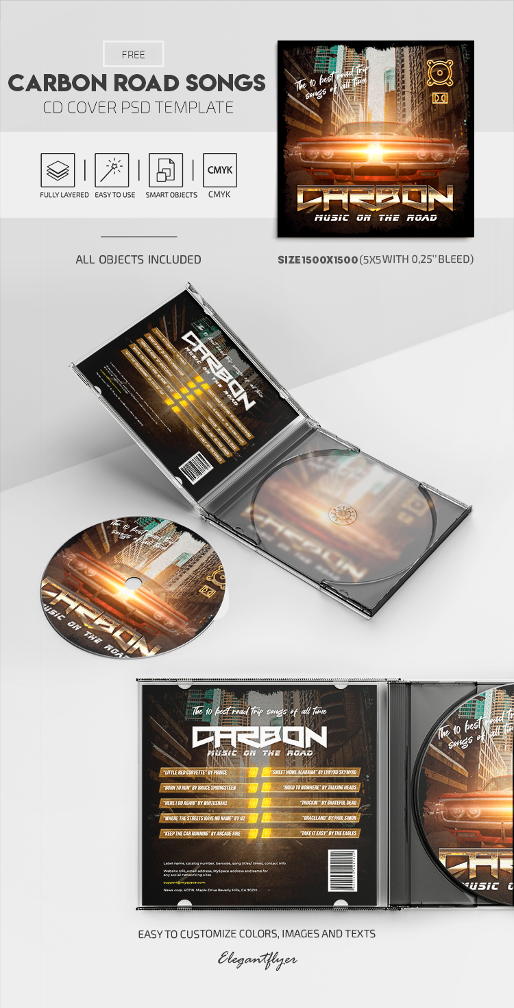 Carbon Road Songs – Free PSD CD Cover Template
