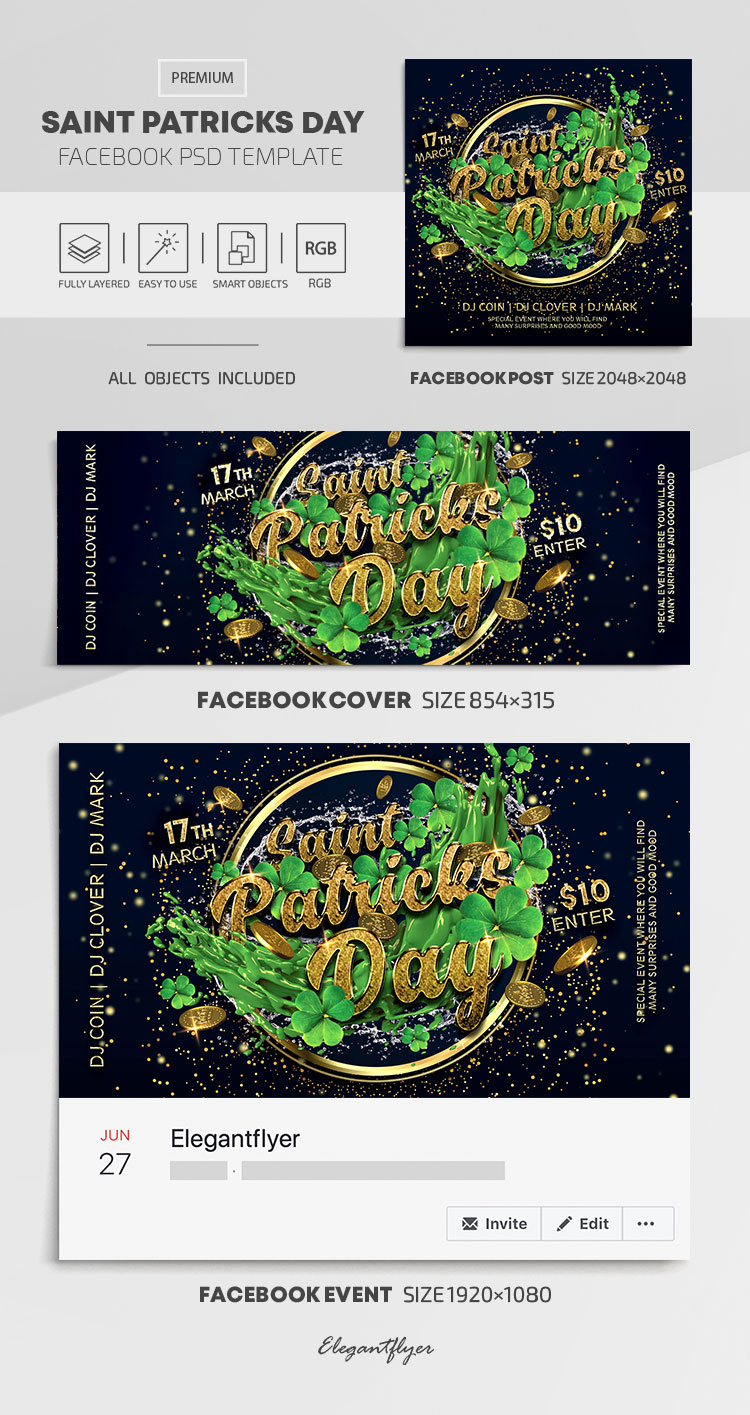 Saint Patricks Day – Facebook Cover Template in PSD + Post + Event cover