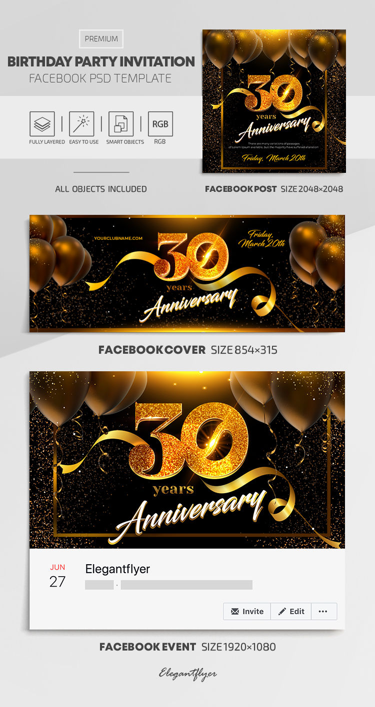 Birthday Party Invitation – Facebook Cover Template in PSD + Post + Event cover