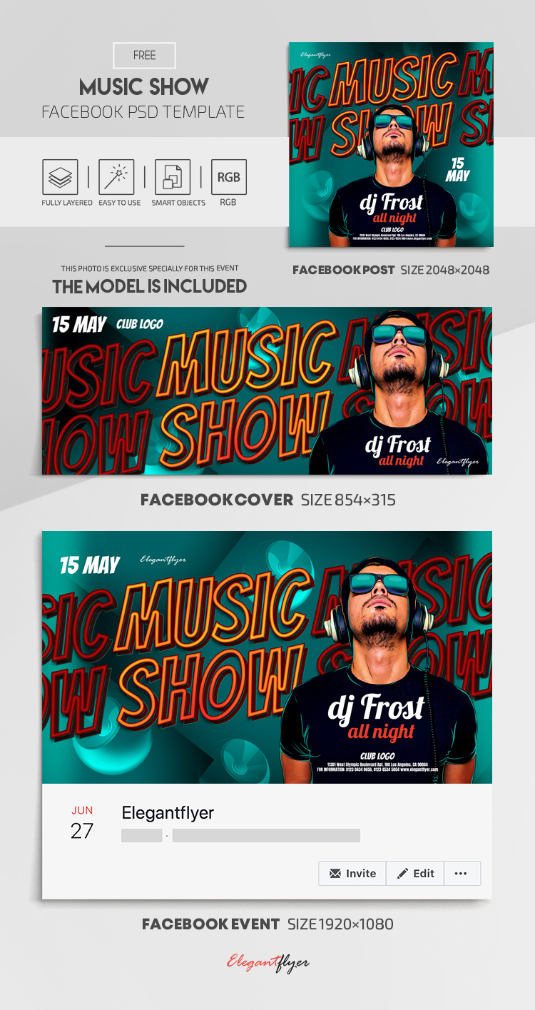 Music Show – Free Facebook Cover Template in PSD + Post + Event cover