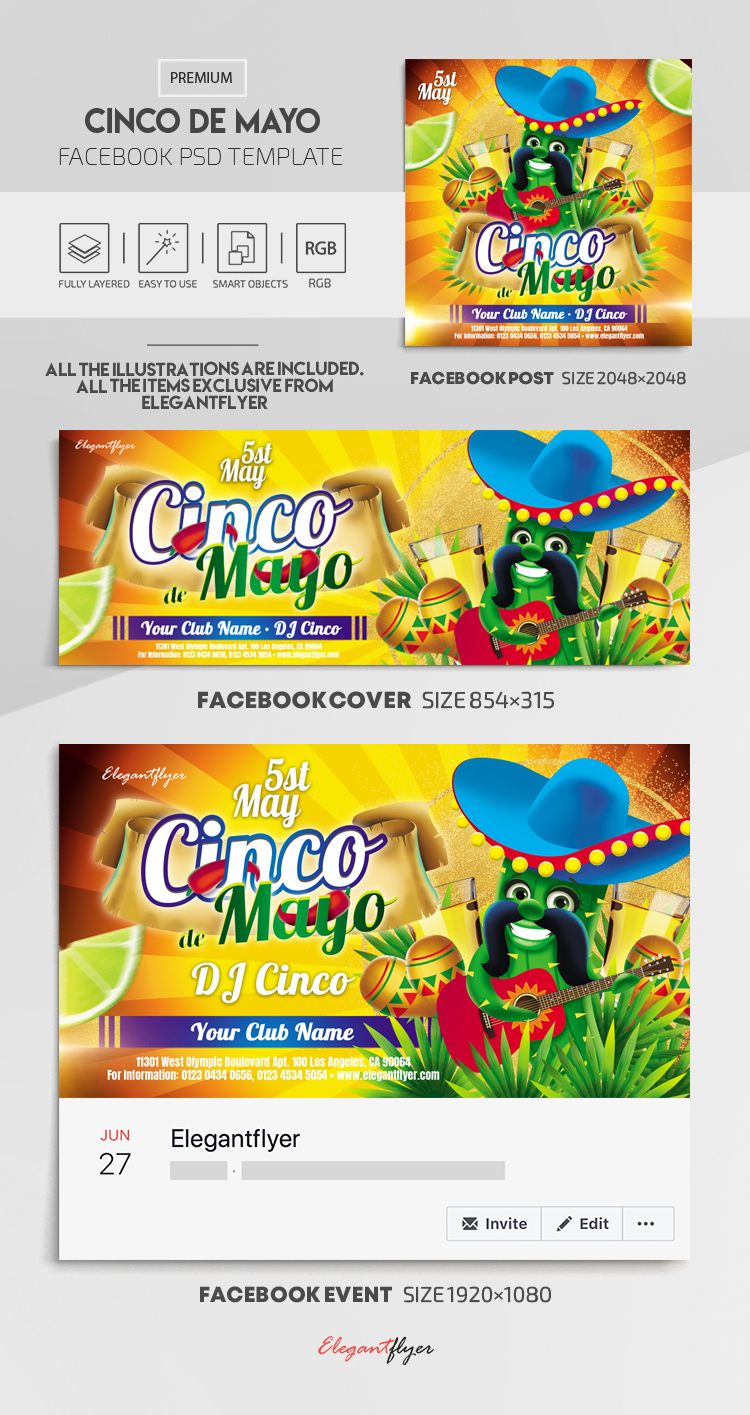 Cinco de Mayo – Facebook Cover Template in PSD + Post + Event cover