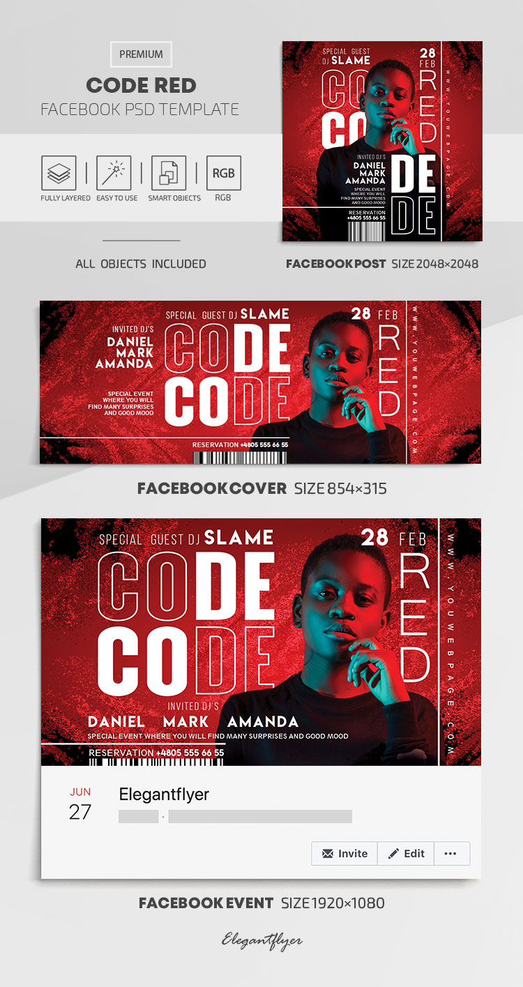 Code Red – Facebook Cover Template in PSD + Post + Event cover