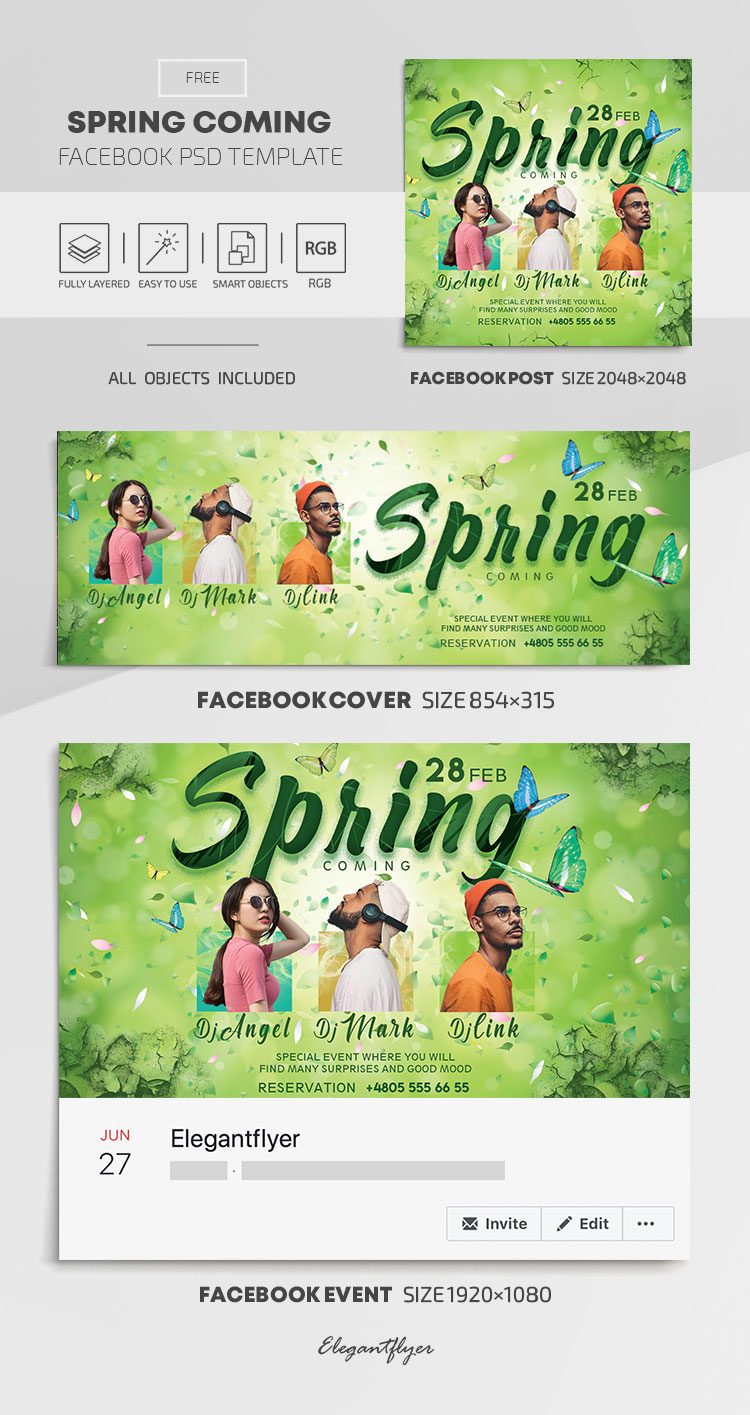 Spring Coming – Free Facebook Cover Template in PSD + Post + Event cover