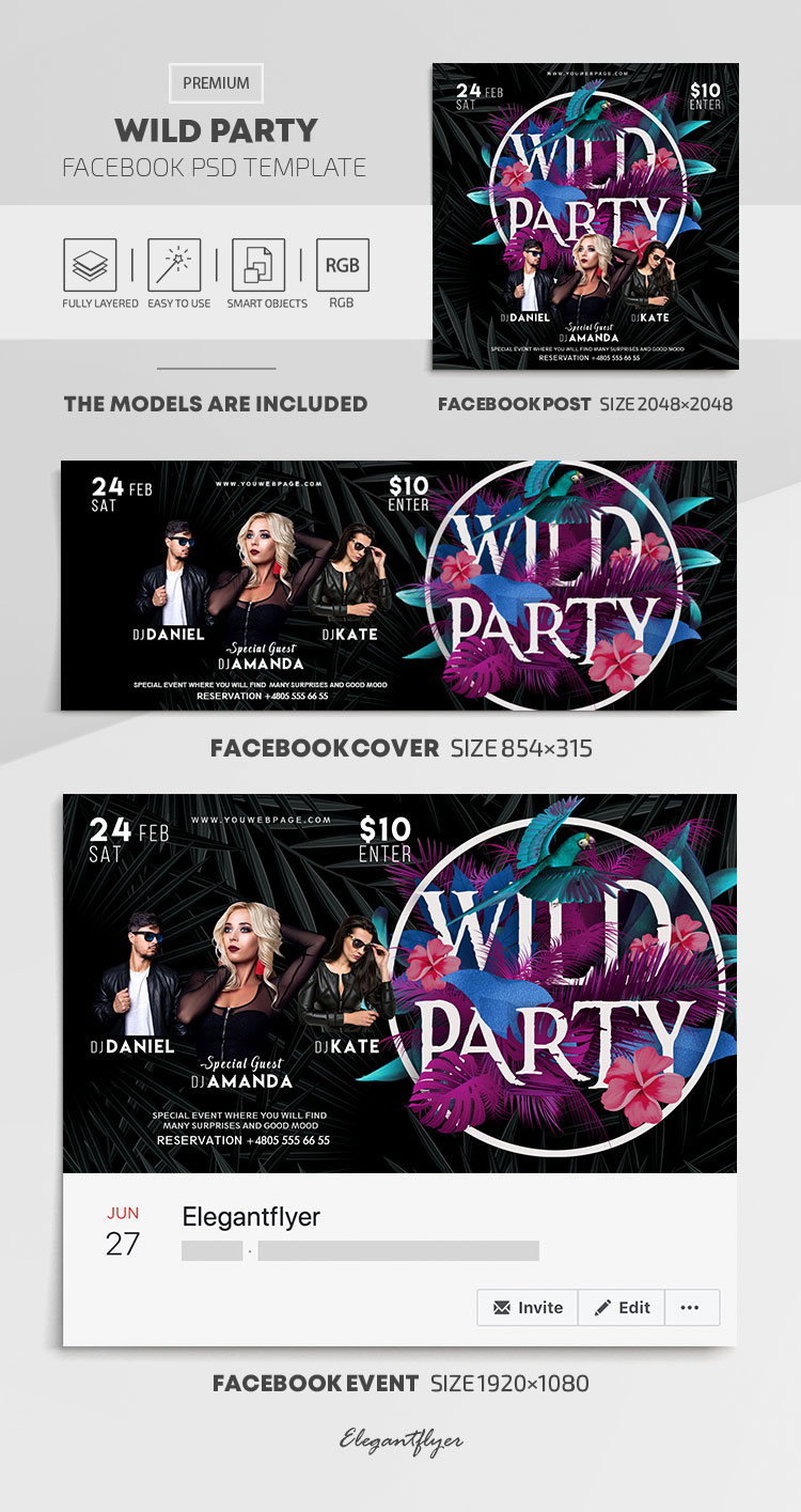 Wild Party – Facebook Cover Template in PSD + Post + Event cover