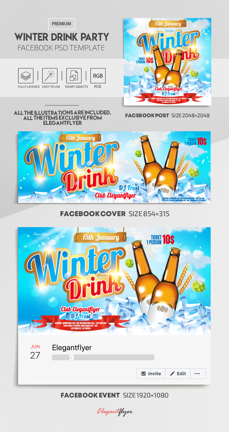 Winter Drink Party – Facebook Cover Template in PSD + Post + Event cover