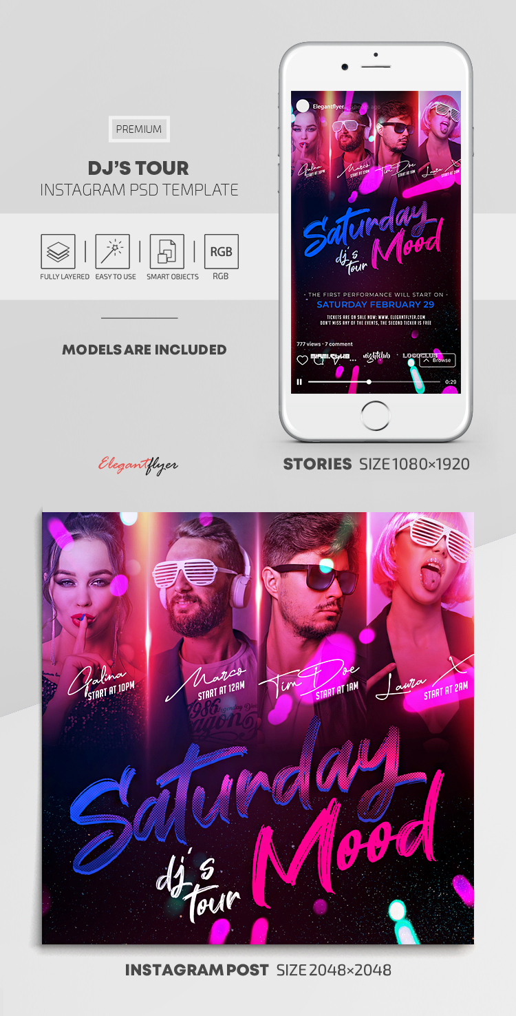 DJ's Tour – Instagram Stories Template in PSD + Post Templates