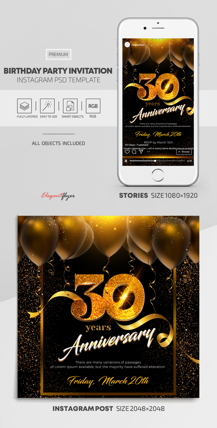 Birthday Party Invitation – Instagram Stories Template in PSD + Post Templates