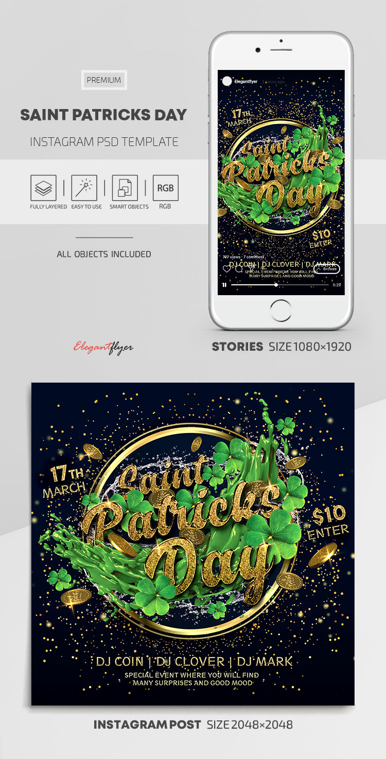 Saint Patricks Day – Instagram Stories Template in PSD + Post Templates