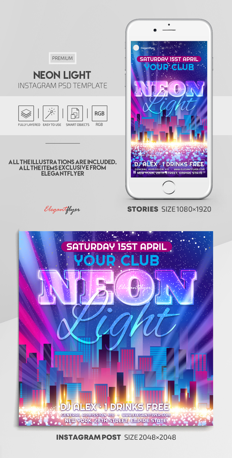 Neon Light – Instagram Stories Template in PSD + Post Templates