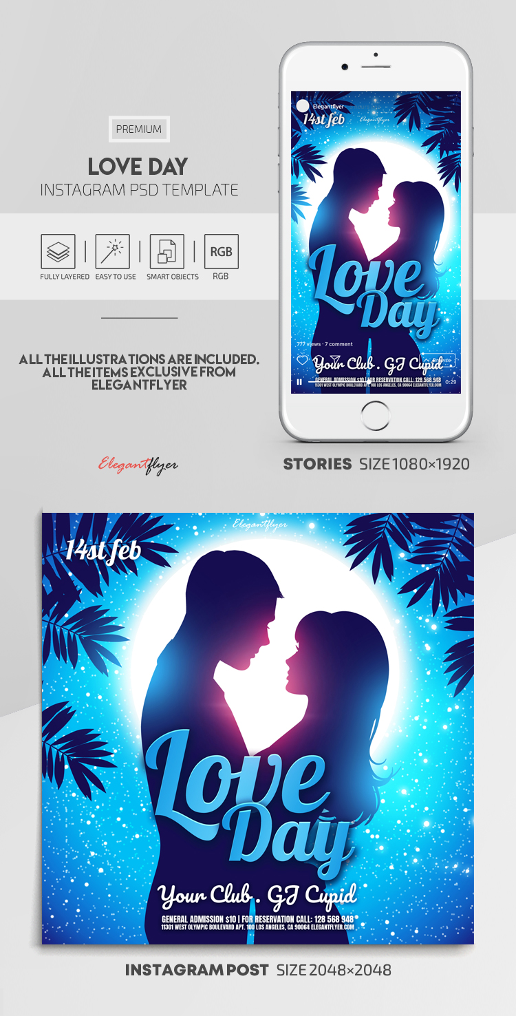 Love Day – Instagram Stories Template in PSD + Post Templates