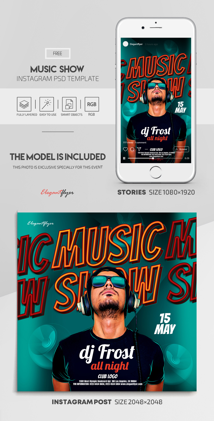 Music Show – Free Instagram Stories Template in PSD + Post Templates