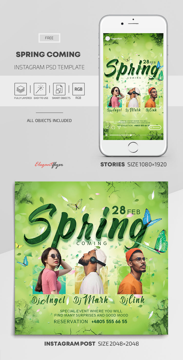 Spring Coming – Free Instagram Stories Template in PSD + Post Templates