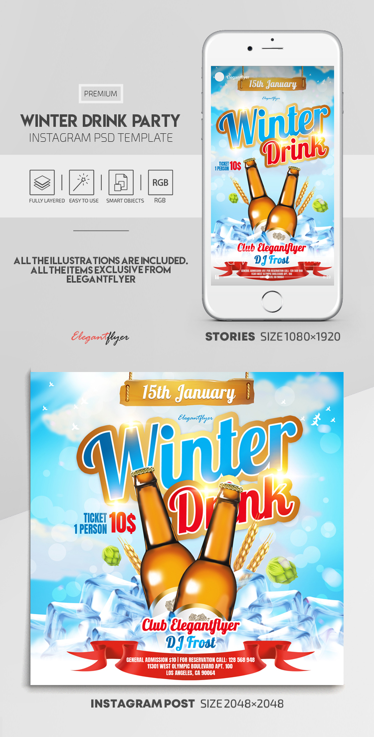 Winter Drink Party – Instagram Stories Template in PSD + Post Templates