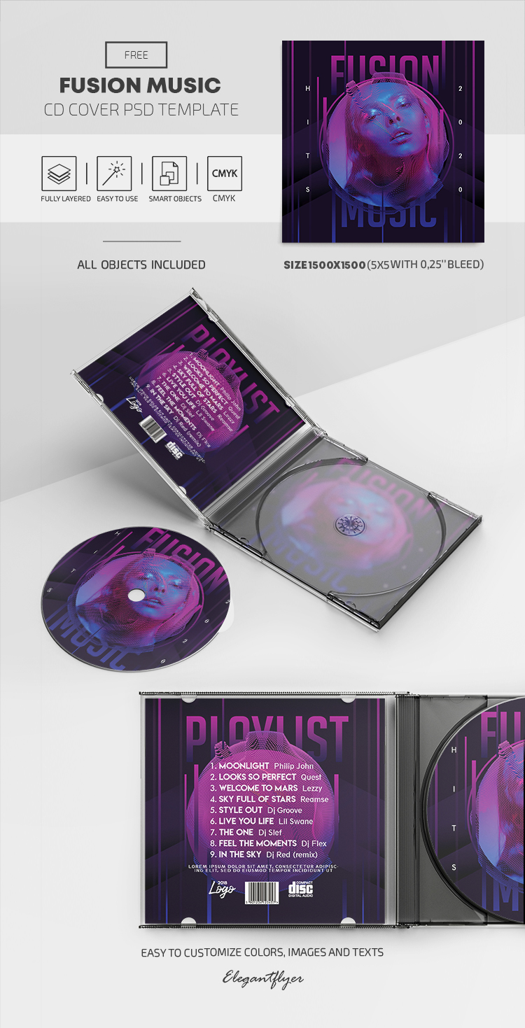 Fusion Music – Free CD Cover PSD Template