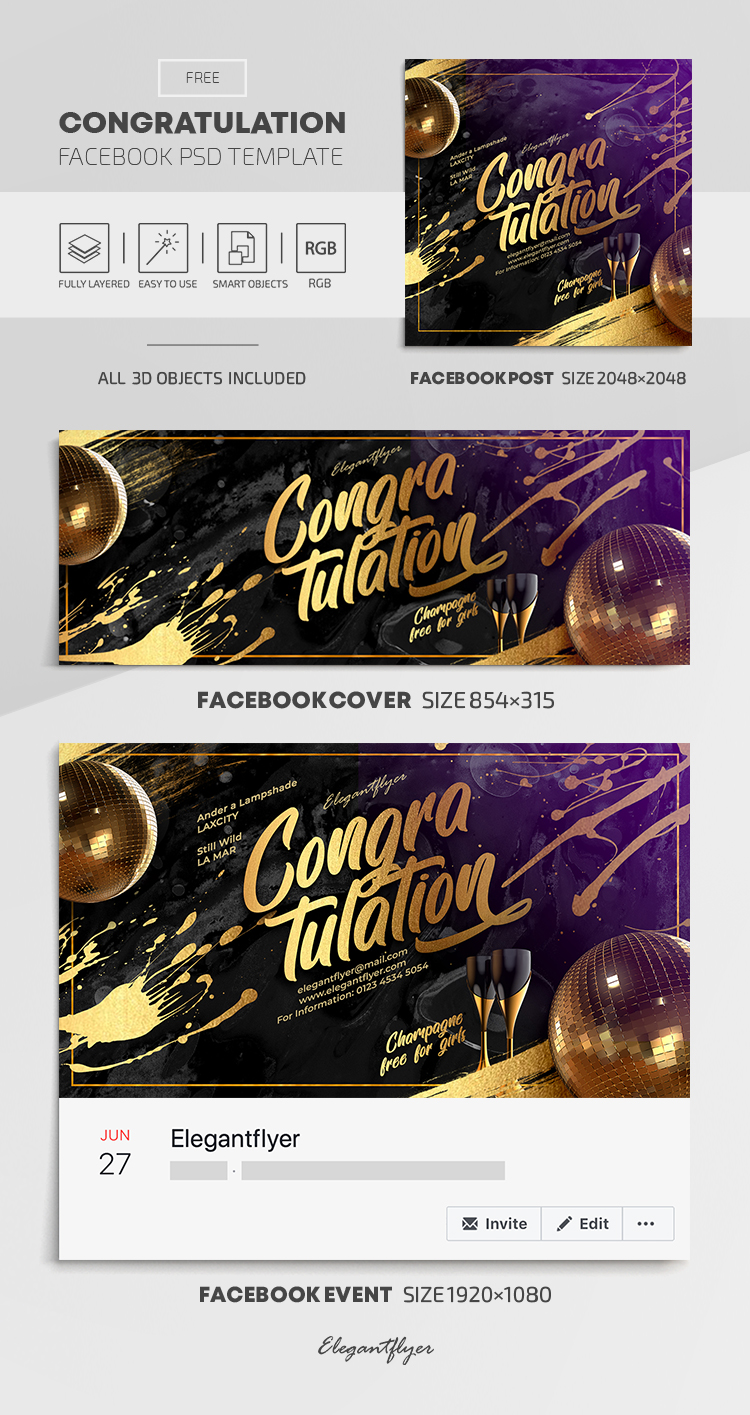 Congratulation – Free Facebook Cover Template in PSD + Post + Event cover