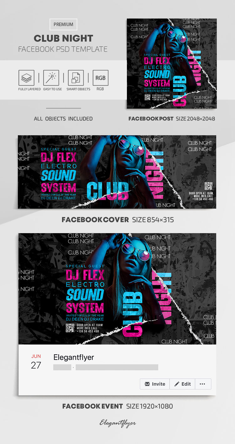 Club Night – Facebook Cover Template in PSD + Post + Event cover