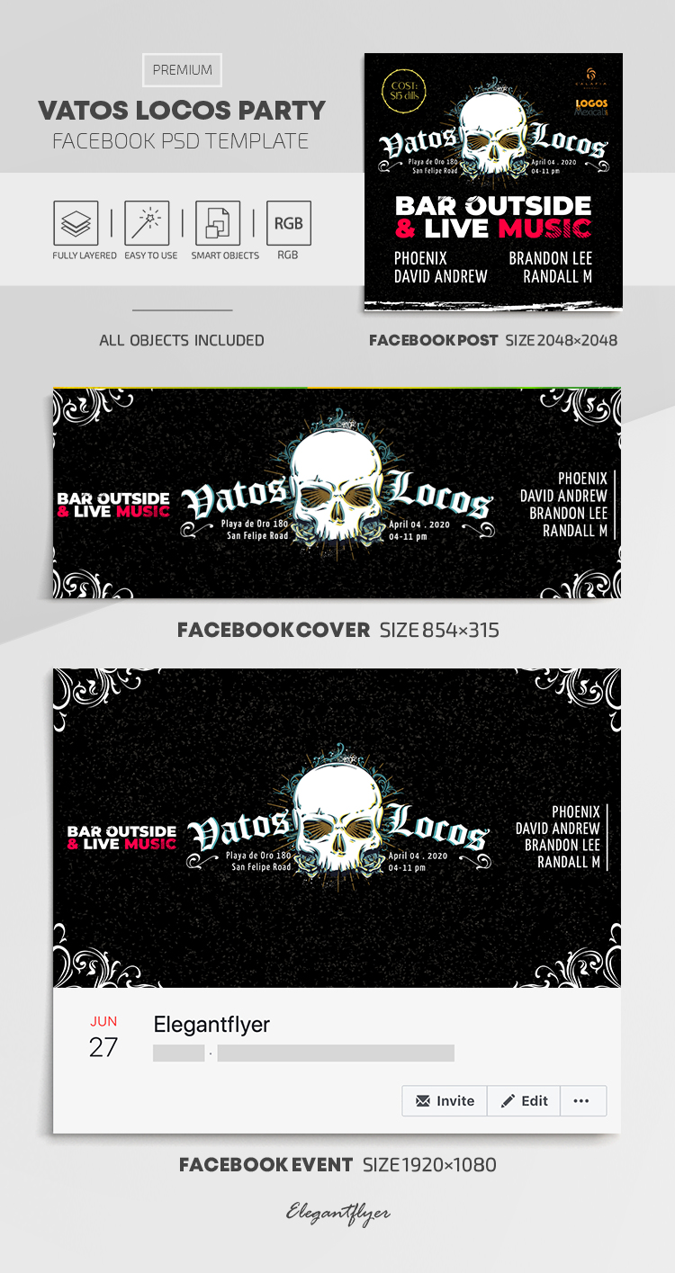 Vatos Locos Party – Facebook Cover Template in PSD + Post + Event cover