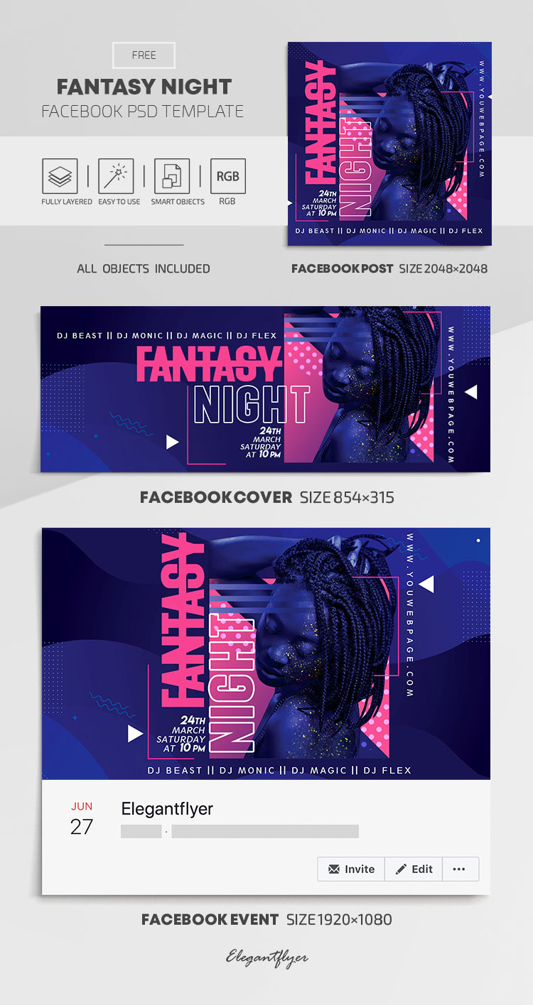 Fantasy Night – Free Facebook Cover Template in PSD + Post + Event cover